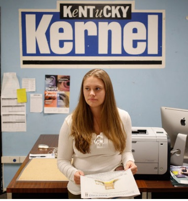 Marjorie Kirk, editor, The Kentucky Kernel. The Kernel was honored by the Scripps Howard First Amendment Center back in September for its efforts in protecting the First Amendment despite the lawsuit by the University of Kentucky. Luke Sharrett photo for the New York Times.